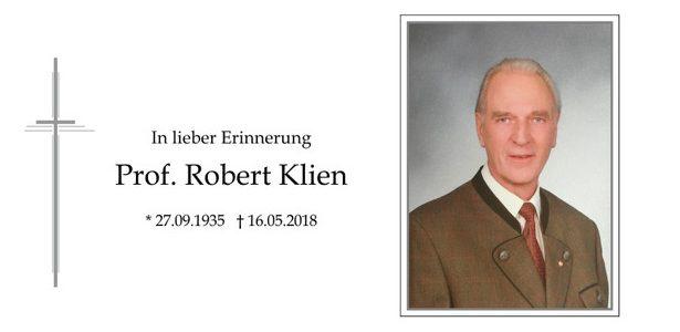 Nachruf zum Ableben unseres Ehrenmitglieds Robert Klien
