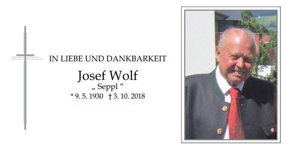 Nachruf zum Ableben unseres Ehrenmitglieds Josef Wolf